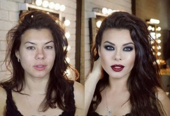 Shocking photos of women before and after makeup.